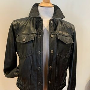 Ladies distressed Harley-Davidson leather jacket